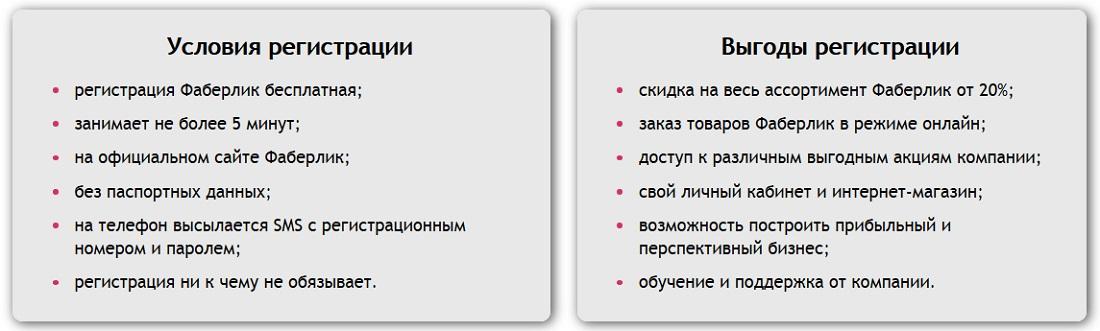 Условия регистрации.